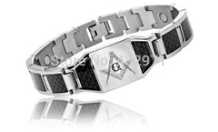 Masonic Magnetic Bracelet With Carbon Fiber Inlay (CFB000)