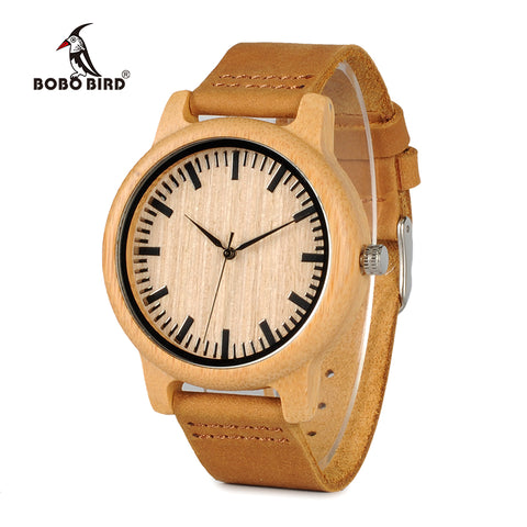 Bamboo Wood Quartz Watches With Scale Soft Leather Straps