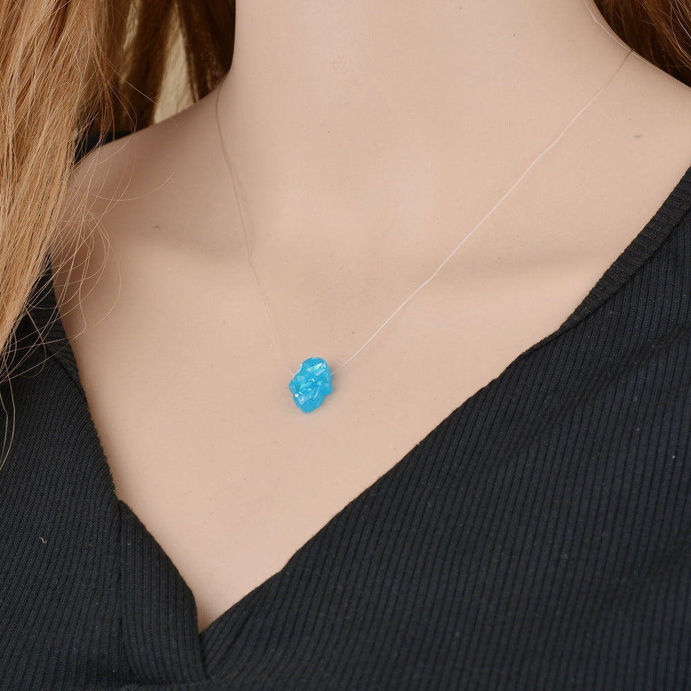 Blue White Opal Hamsa Necklace