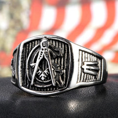 Masonic G  Ring - Titanium Steel Ring (JRS0000)