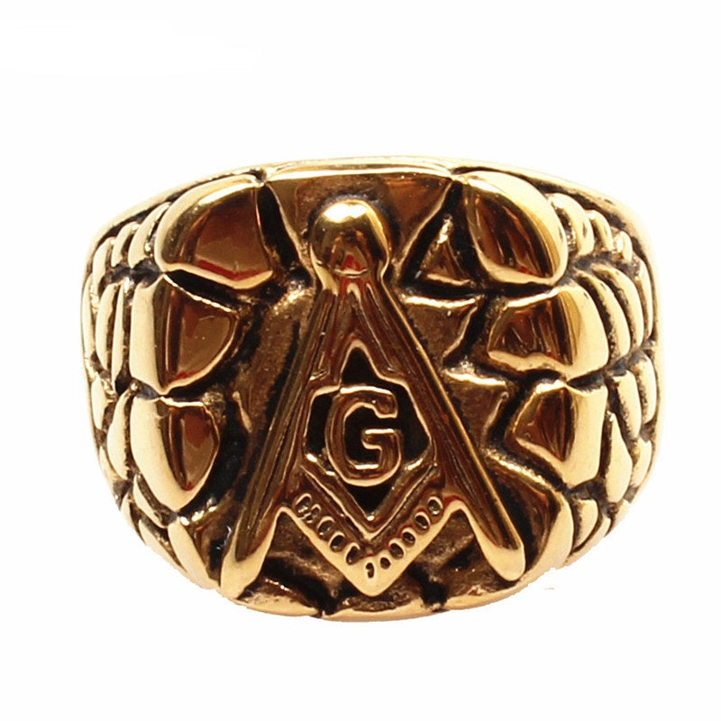 316L Stainless Steel Gold - G Masonic Ring Ancient Ways (WFG0000)