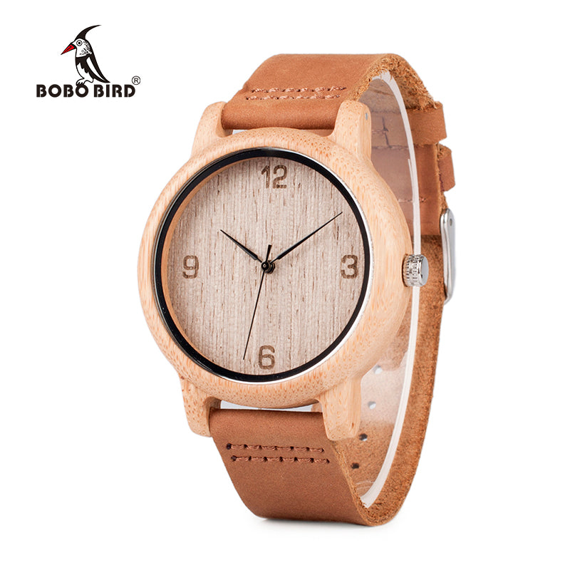 Women's Casual Antique Round Bamboo Wooden Watch With Leather Strap