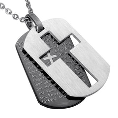 Looker Cross Necklace & Pendant - Lords Prayer Dog Tags