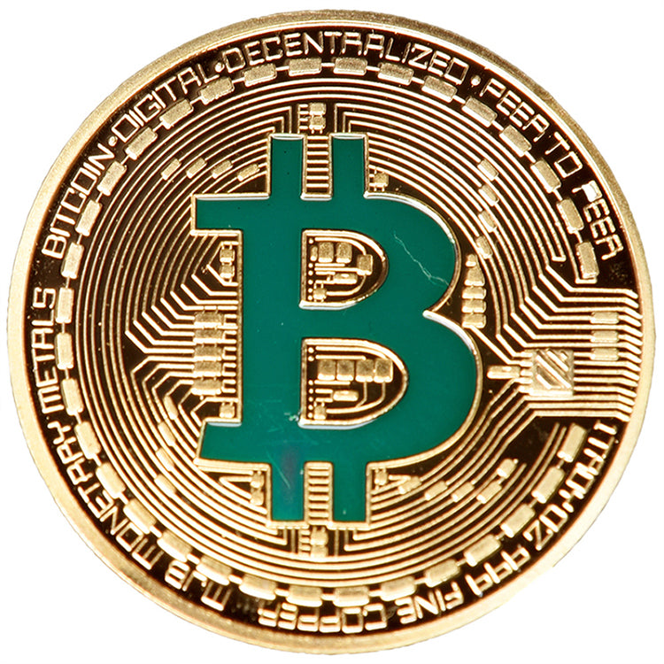 Gold Plated Bitcoin Coin Collectible Bit Coin - Art Collection Gift