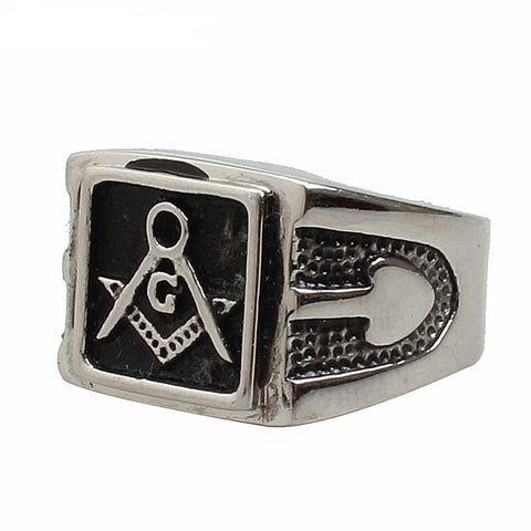 Silver Mens Square Masonic Ring (RTY0000)