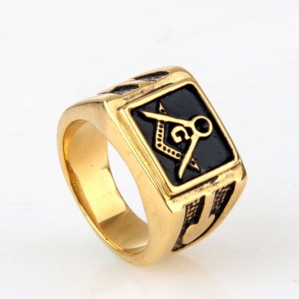 Gold Mens Square Masonic Ring (RTY0000)