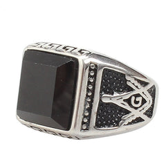 Gem Stone Masonic Ring - Polished Silver (RAQ0000)
