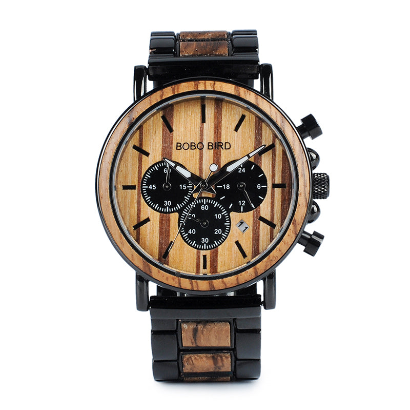 Wooden Mens Watch Top Brand Luxury Style - Wood & Stainless Steel Chronograph Military Quartz Watch