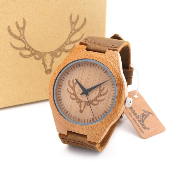 Top brand Men's Wooden Bamboo Watch - Quartz Real Leather Strap With Gift Box