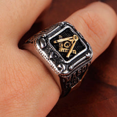 European Style Masonic Titanium Ring  (JUN0000)