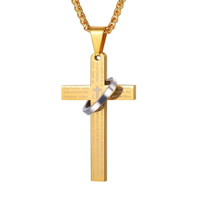 Cross Necklace - Trendy Black/Gold Color Stainless Steel Pendant