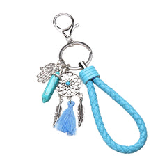 Opal Natural Stone - Glowing Hamsa Dream Catcher Keyring