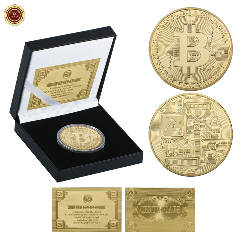 Bitcoin Coin Gold Plated Challenge Coin with Quality Gift Box