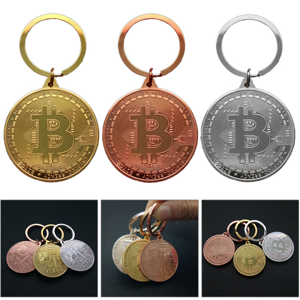 Gold Plated Bitcoin Coin Key Chain - Key Ring
