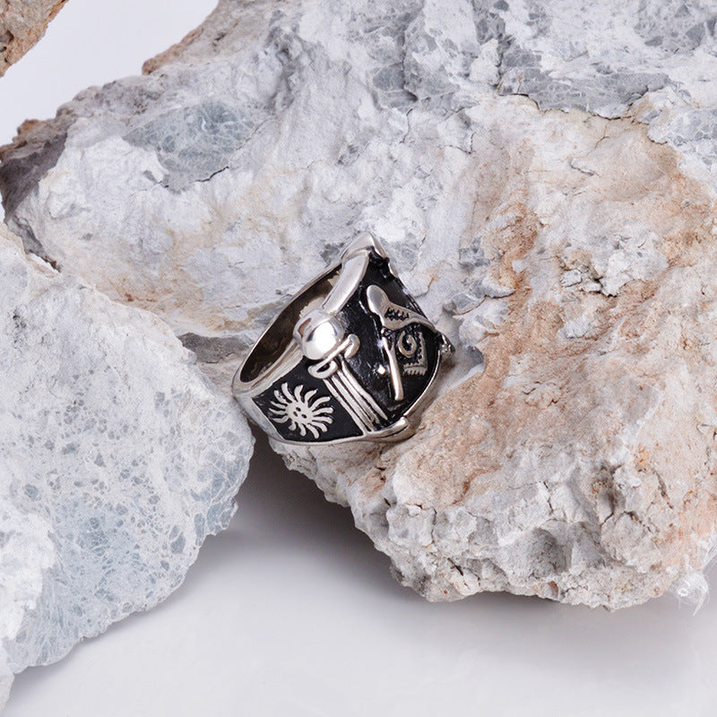Fashion Masonic Ring  New Silver - Crown Stainless Steel (CMX0000)