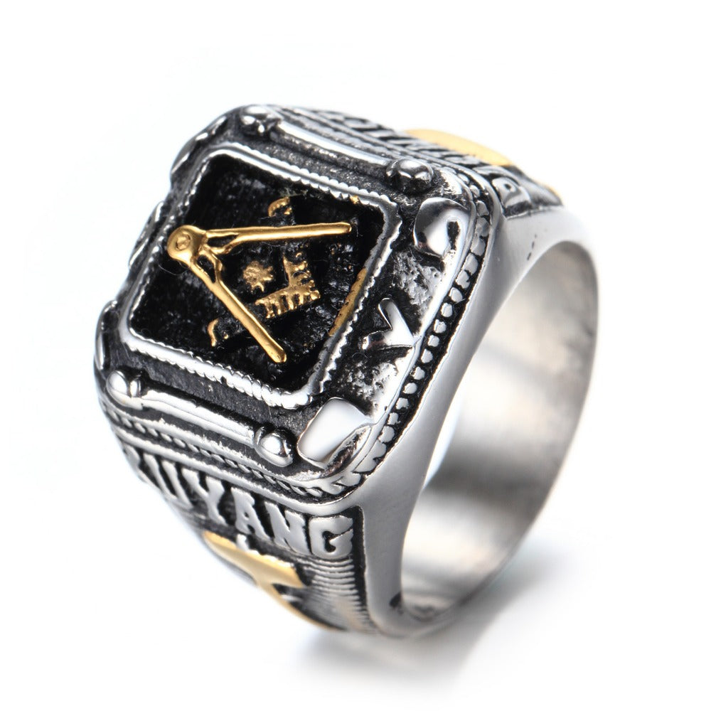 European Style Masonic Titanium Ring - Past Master (DMM0000)
