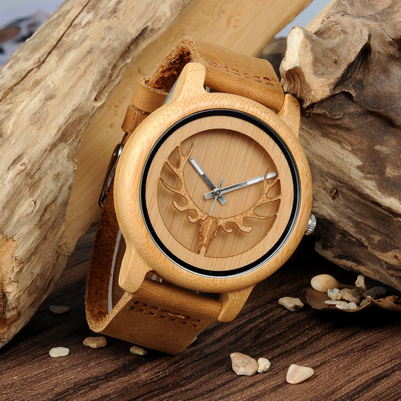 Hollow Deer Head Bamboo Wood Watch - Leather Strap Quartz Watch
