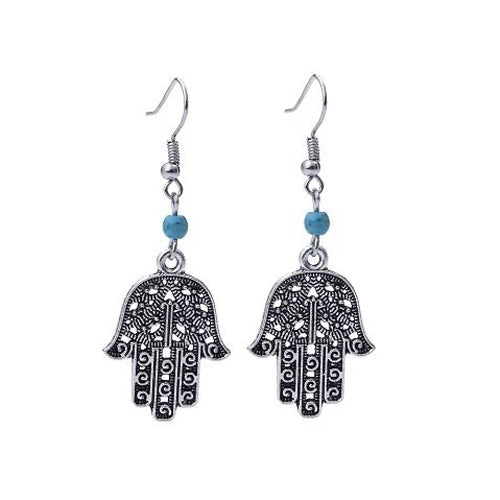 Vintage Long Tibetan Silver Color Fatima Hamsa Hand Drop Earrings