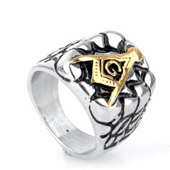 Historic Silver And Gold Stainless Steel Masonic Signet Ring (WFX0000)