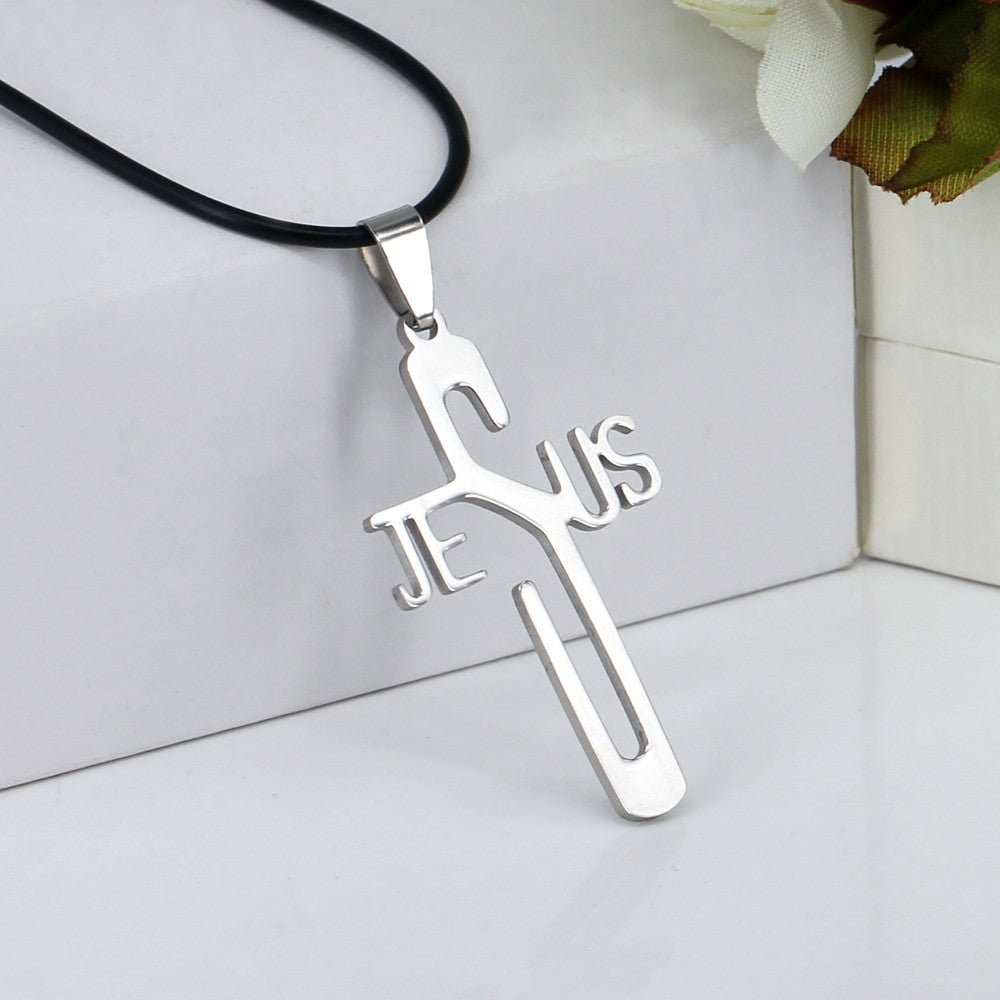 Jesus Cross Pendant - Stainless Steel Necklace & Leather Rope