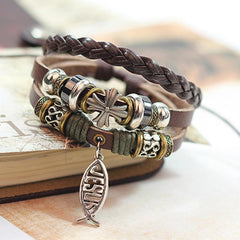 Leather Multilayer Charm Wrap Bracelet - Jesus Cross Fish Pattern