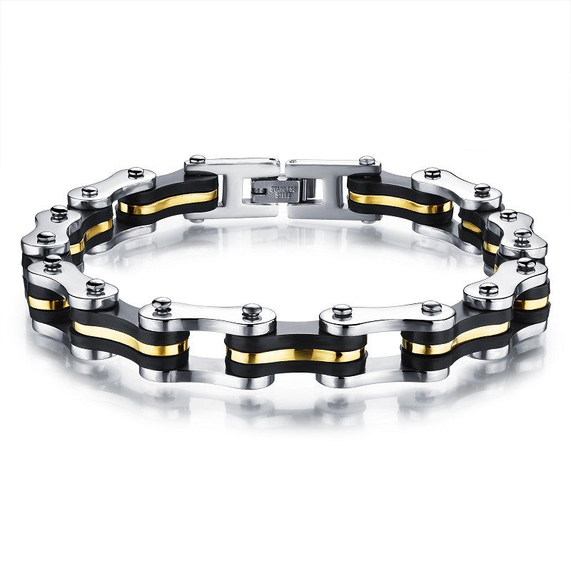 Stainless Steel Silicone Bracele Biker Bicycle Motorcycle Chain Man Bracelet & Bangle Accessories