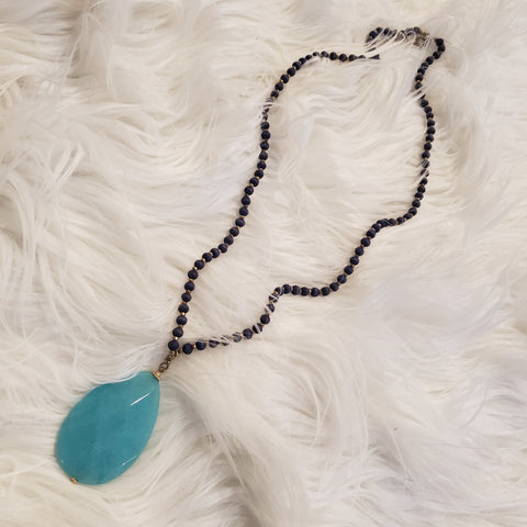 Teal Stone w/ Navy Strand Necklace