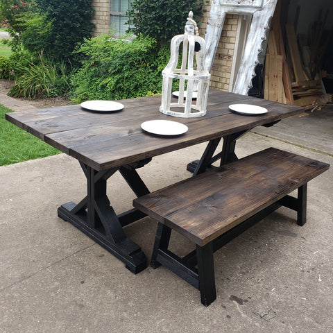 Custom Built Farmhouse Table & Bench