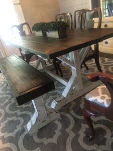 Custom Built Farmhouse Table, Bench w/ 4 Chairs