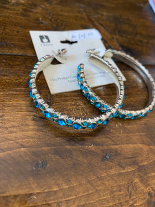 Turquoise rhinestone hoop earrings 641