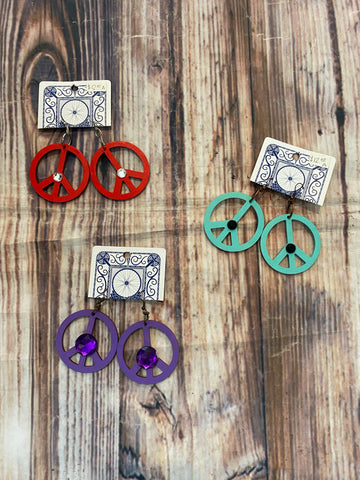 Peace sign earrings 656