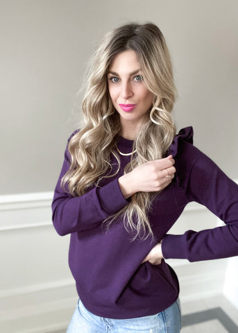 The Mama Ruffle Pullover | Plum
