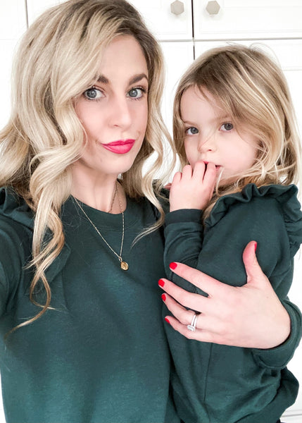 The Mama Ruffle Pullover | Pine