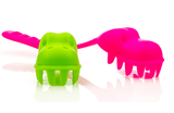 Kids Dinosaur Pasta Fork 2 Colours Green and Pink