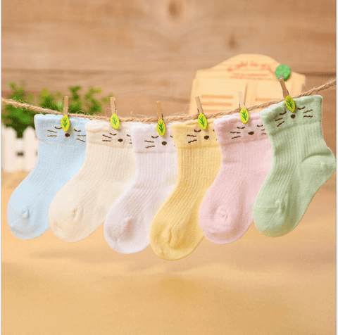 Baby Cat Design Colour Breathable Socks