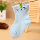 Baby Cat Design Colour Breathable Socks Blue