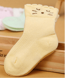 Baby Cat Design Colour Breathable Socks Yellow