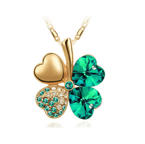Four Leaf Clover Necklace Gold Dark Green