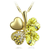 Four Leaf Clover Necklace Gold Yellow