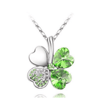 Four Leaf Clover Necklace Silver Green