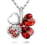 Four Leaf Clover Necklace Silver Red
