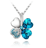 Four Leaf Clover Necklace Silver Turquoise