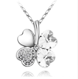 Four Leaf Clover Necklace Silver White