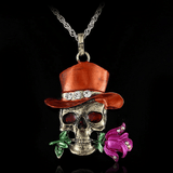 Gothic Skull Necklace Orange