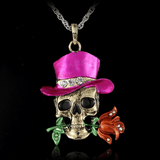 Gothic Skull Necklace Pink