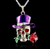 Gothic Skull Necklace Purple