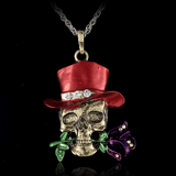 Gothic Skull Necklace Red