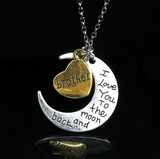 I love you Moon Necklace Brother