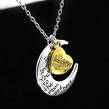 Silver Vintage Family Necklace I Love You To The Moon And Back