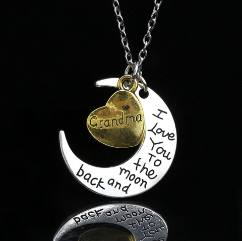 I love you Moon Necklace Grandma